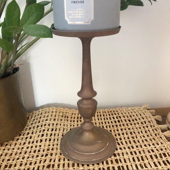 Vintage Brass Large Candle Holder Boho Decor